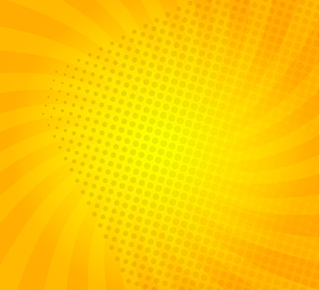 Sunburst on yellow background with dots. Template for your design, concept of hot summer. Spiral sun rays.Vector illustration.