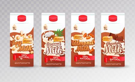 Ensemble de packs de tétra au lait avec des goûts différents. Soja frais et naturel, lait de noix de coco, d'amande et de chocolat pour votre marque, logo, modèle, étiquette, emblème pour l'emballage, l'emballage, la publicité. Illustration vectorielle