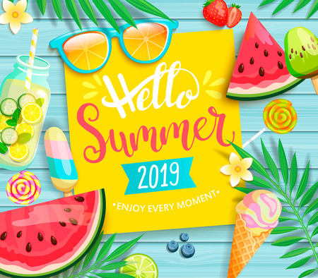 Hello summer 2019 yellow card or banner with handdrawn lettering on blue wooden background with watermelon, detox, ice, ice cream,sunglasses and candy, blueberry. Vector Illustration.