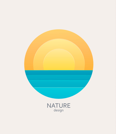 Nature logo, emblem or sticker. Simple landscape with sun and sea.Concept for summer, holidays, travelling.Template label for tour agencies advertise. Vector illustration of sunset or sunrise. Ilustracja