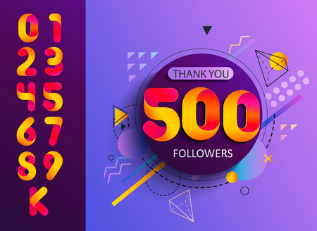 Set of numbers for Thanks followers template design.Thank you followers congratulation card.Vector illustration for Social Networks.Web user,blogger celebrates and tweets a large number of subscribers