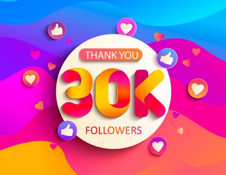 Gracias por los 30000 seguidores. Gracias tarjeta de felicitación de seguidores de 30 K sobre fondo ondulado. Ilustración de vector de redes sociales. El usuario web o bloguero celebra una gran cantidad de suscriptores.