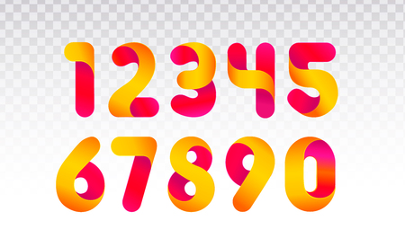 Set of numbers from 0 till 9. Template for web design or greeting card. Vector collection for Social Networks, web user and bloggers celebrating posts and subscribes. 스톡 콘텐츠 - 125355177