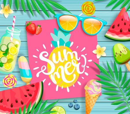 Summer 2019 pink card or banner with pineapple and handdrawn lettering on blue wooden background with watermelon, detox, ice, ice cream,sunglasses and candy, blueberry. Vector Illustration. Ilustracja