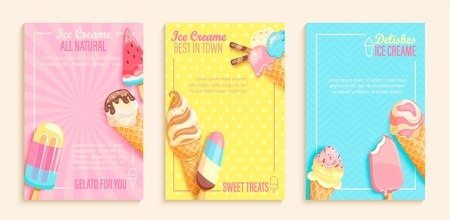 Set of sweet ice cream shops flyers,banners on vintage background.Collection of pages for kids menu,caffee,posters. cards, cafeteris advertise.Template vector illustration.