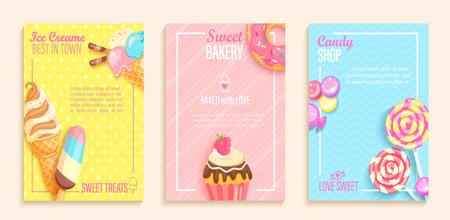 Zestaw słodkich cukierków, piekarni i lodziarni ulotek, banerów. Zbiór stron do menu dla dzieci, kawiarni, plakatów. Ciasta, pączki, ciastko, karty lollipop cafeteris. Ilustracja wektorowa szablonu.