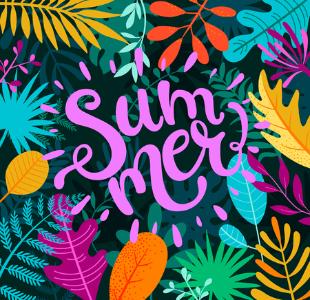 Greeing summer 2019 banner, card, poster , handdrawn lettering among tropical palm leaves. Summertime background with tropical plants and flower.Template for your design. Vector illustration.