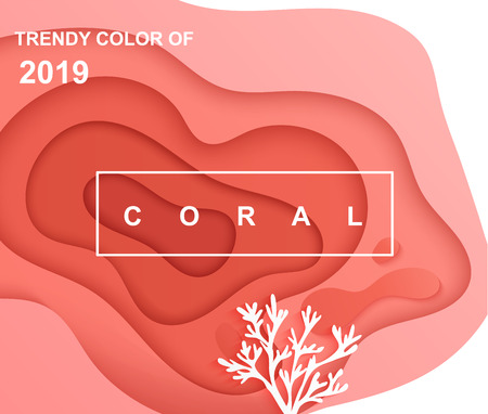 Background with paper cut abstract shapes with coral.Wavy Coral color layers for your design,layouts,business presentations,flyers,posters,invitations.Template for banner,brochure,book cover.Vector