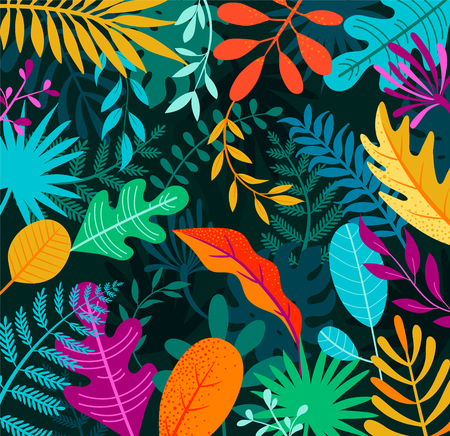 Jungle background with tropical palm leaves. Exotic plants template for your design, banner, poster, fashion, interior. Vector illustration.