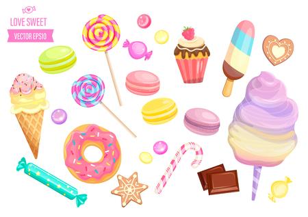 Establecer dulces aislados sobre fondo blanco: dulces, helados, algodón de azúcar, chocolate, macarrones y bisquit, galletas, bastón de caramelo y piruletas, caramelo.Plantilla para confitería, pancarta y póster, publicidad. Ilustración de vector