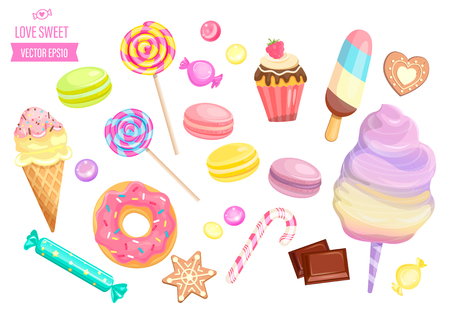 Set isolated sweets on white background-candy,ice cream,cotton candy,chocolate,macaroon and bisquit, cookies,candy cane and lollipop,caramel.Template for confectionery,banner and poster,advertise. 矢量图像