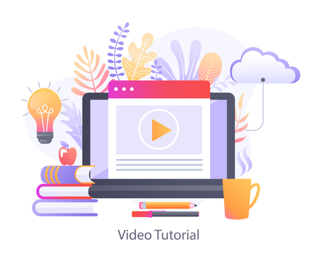 Video Tutorial for online education.Study and learning,training courses,specialization,distance e-learning,knowledge growth,conference and webinar,video services.Template For web design,banners, promo Illustration