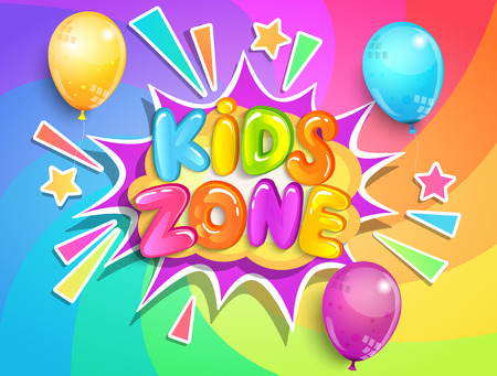 Kids zone banner with balloons on rainbow spiral background in cartoon style.Place for fun and play,kids game room for birthday party.Poster for childrens playroom decoration.Vector illustration. Çizim
