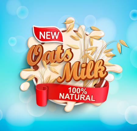 Fresh and Natural Oat Milk label splash with ribbon on blue bokeh background for logo, template, label, badge, emblem for groceries, agriculture stores, packaging and advertising. Vector illustration. Illustration