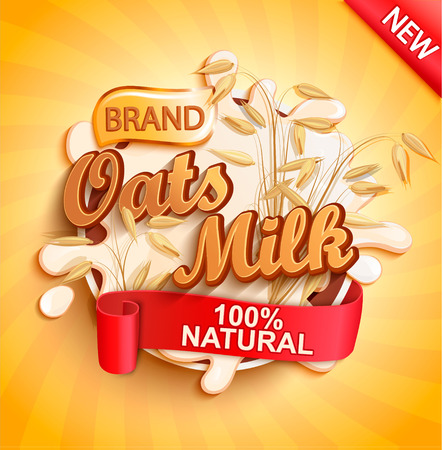 Oat milk label splash, natural and fresh on gold sunburst background for your brand, logo, template, label, emblem for groceries, stores, packaging and advertising, marketing. Vector illustration.