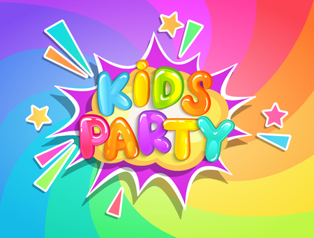 Kids party banner on rainbow swirl spiral background in cartoon style. Place for fun and play, kids game room for birthday party. Poster for childrens playroom decoration. Vector illustration.