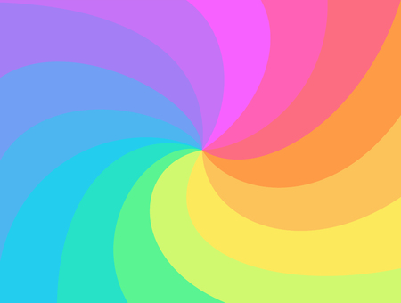 Fondo de remolino de arco iris. Rayos de arco iris de espiral retorcida. Vortex starburst o sunburst twirl. Divertido jacuzzi multicolor para diseñar, plantilla para negocios, publicidad, embalaje.
