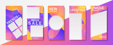 Set of templates for stories, sales and news. Backgrounds for your design, for social media landing page, website, mobile app and poster, flyer, coupon, gift card. Vector illustration. Illustration