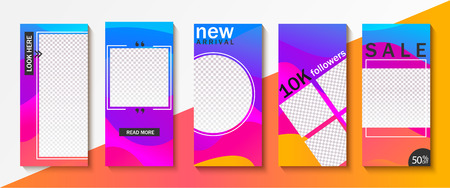 Set of templates for stories, sales, gifts. Backgrounds for your design, for social media landing page, website, mobile app and poster, flyer, coupon, gift card. Vector illustration. Illustration