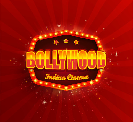 Bollywood Indian Cinema Film Banner,poster with retro light frame.Movie glowing Logo,symbol for your Design in retro vintage style.Template board with bulbs on red background.Bright signboard,lightbox