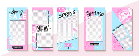 Set ot spring insta templates for stories, sales and news. Backgrounds for your design, for social media landing page, website, mobile app and poster, flyer, coupon, gift card. Vector illustration.