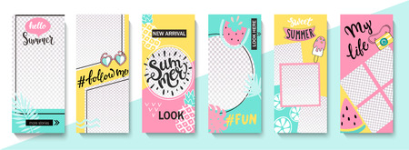 Set ot summer insta templates for life stories and news. Backgrounds for your design, for social media landing page, website, mobile app and poster, flyer, coupon, gift card. Vector illustration.