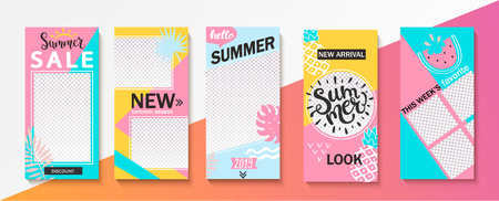 Set ot summer insta templates for stories, sales and news. Backgrounds for your design, for social media landing page, website, mobile app and poster, flyer, coupon, gift card. Vector illustration.