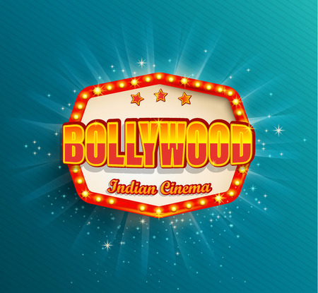 Bollywood Indian Cinema Film frame with retro light bulbs.Glowing movie Logo,symbol,poster, banner for your Design in retro vintage style.Template board on blue background.Bright signboard,lightbox