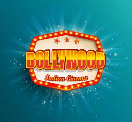 Bollywood Indian Cinema Filmrahmen mit Retro-Glühbirnen. Leuchtendes Filmlogo, Symbol, Poster, Banner für Ihr Design im Retro-Vintage-Stil. Vorlagentafel auf blauem Hintergrund. Helles Schild, Leuchtkasten Logo