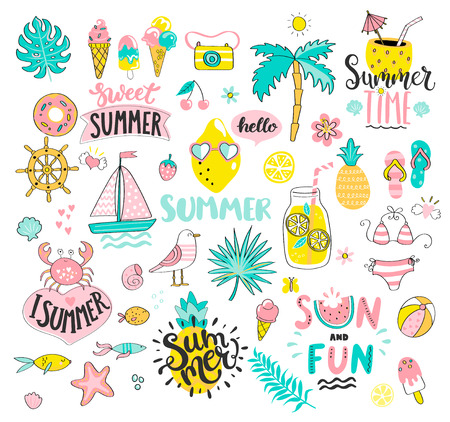 Big Summer set of sun and fun hand drawn elements such as boat,sun,drinks and fish,crab,palm,fruits, tropical leaves. Perfect for web,card,poster and cover,tag,invitation,sticker.Vector illustration.