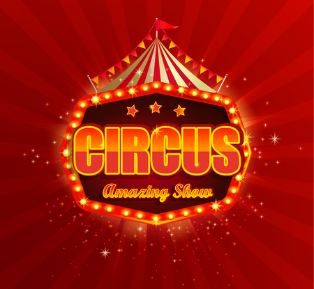 Circus banner with retro light bulbs frame on red sunbeams background.Vintage fun fair poster or flyer with tent, flags,stars,garlands.Carnival symbol,sign,emblem,welcome billboard.Vector illustration 免版税图像 - 119729910