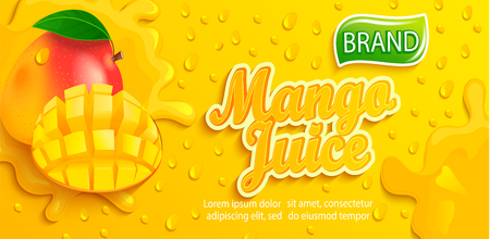 Fresh mango juice splash banner with apteitic drops from condensation, fruit slice on gradient yellow background for brand,logo, template,label,emblem,store,packaging,advertising.Vector illustration Stock Illustratie