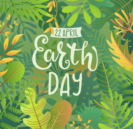 Green Banner for Earth Day for environment safety celebration on jungle background with tropical leaves and hand drawn lettering for cards, posters, advertise.Eco friendly world.Ecology concept.Vector Foto de archivo - 119729914