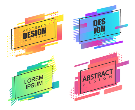 Set of geometric square abstract shapes. Template for badges, lablels, poster, banner.Colorful modern background for web, cover, app,flyer or presentation,advertise and your design.Vector illustration