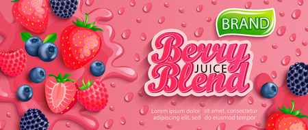 Fresh berry blend juice splash banner with apteitic drops from condensation.Strawberries,blueberries,raspberries and blackberries background for brand,logo,template,label,emblem,packaging,advertising.