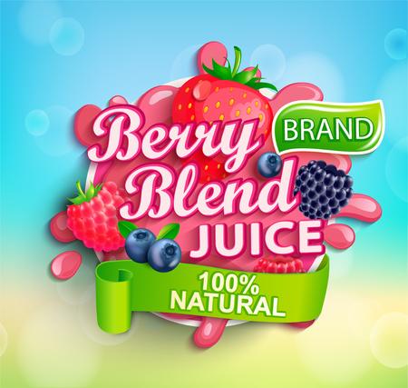 Logo de jus de mélange de baies fraîches avec éclaboussures, gouttes aptétiques et fraises, myrtilles, framboises et mûres pour bannière, affiche, marque, modèle et étiquette, emblème, emballage, publicité.Vector