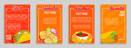 Set of mexican fast food shop flyers,banners.Set of taco,tamales,nachos,burrito menu pages for caffee, resaurant. Takeaway snack,poster,card for cafeteris,truck advertise.Template for design,vector Illustration
