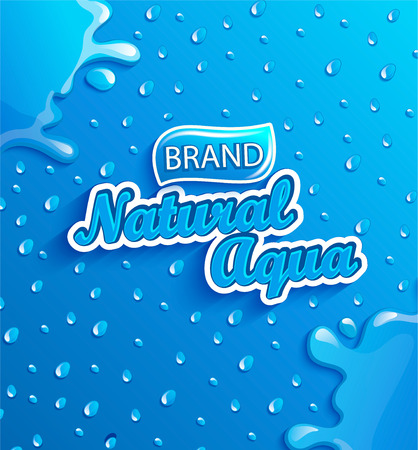 Fresh, clean and natural water banner with splash and drops from condensation on gradient blue background for brand,l ogo, template, label, emblem and store, packaging, advertising, packing.Vector Illustration