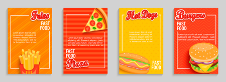 Set of fast food shop flyers,banners.Collection of fries, pizza, hot dog, burger menu pages for caffee, resaurant. Posters, cards for cafeteris truck advertise.Template for design,vector illustration. Illustration