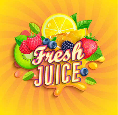 Fresh juice logo with splash, fruits and berries on sunburst background.Orange,lemon, strawberries,blueberries,raspberries and blackberries for banner,poster,brand,template and label,packaging,packing Иллюстрация