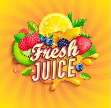 Logo di succo fresco con schizzi, frutta e bacche su sfondo raggera. Arancia, limone, fragole, mirtilli, lamponi e more per banner, poster, marchio, modello ed etichetta, imballaggio, imballaggio