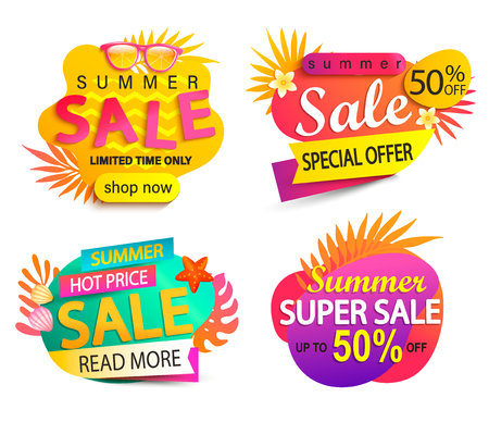 Set of summer sale and discount stickers.Special offer for mid or end of hot season. Low price tag.Invitation for online shopping with 50 percent off, template for design, banner. Vector illustration.