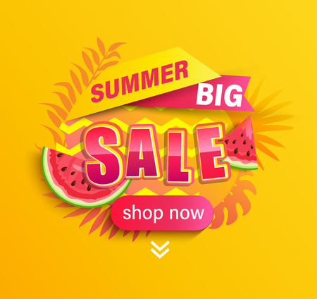 Summer big Sale promotion,season discount banner with tropical leaves,watermelon.Invitation for limited time shopping, special offer card, template for design,label,advertising badge,flyer. Vector Archivio Fotografico - 122830349