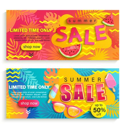 Set zomer verkoop banners, flyers. Promoot tot 50 procent korting op de prijs en tijdelijke kortingen. Uitnodiging voor nieuwe mid- en eindeseizoensaanbiedingen. Sjabloon voor uw ontwerp in winkels, winkels, verkoopt. Vector Illustratie