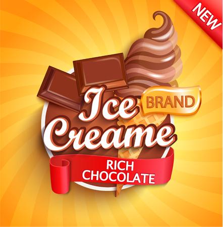 Schokoladeneis-Logo auf Sunburst-Hintergrund mit Schokostücken und Eisbecher im Kegel im Cartoon-Stil für Ihr Design. Gelato für Banner, Poster, Marke, Vorlage und Etikett, Verpackung, Verpackung, Emblem Logo