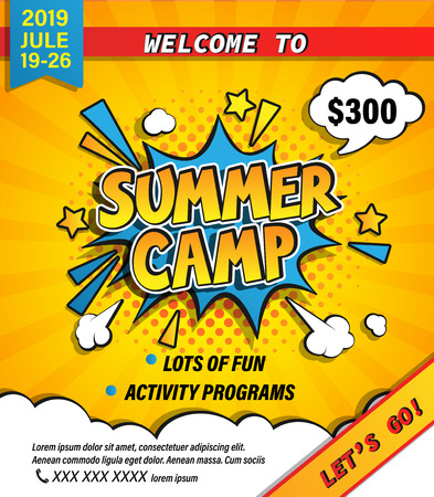 Bannière d'invitation au camp d'été avec lettrage dessiné à la main dans une bulle de dialogue comique sur fond de demi-teintes. Allons camper et voyager en vacances. Modèle pour affiches, dépliants. Illustration vectorielle.