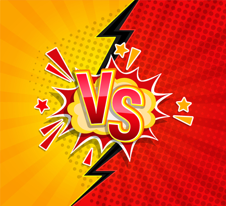 Versus competitive concept in comic style on sunburst background with halftone and lightning split backdrop and speech bubble and VS letters on explsion cloud. Vector illustration