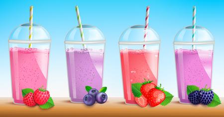 Smothie-Set mit frischen Beeren Himbeere, Blaubeere, Erdbeere, Brombeere. Saft in Plastikbecher. Becher mit fruchtigem Bio-Shake. Gemischter Cocktail. Natürliches vegetarisches gesundes Getränk. Bar-Menü, Werbung, Poster.