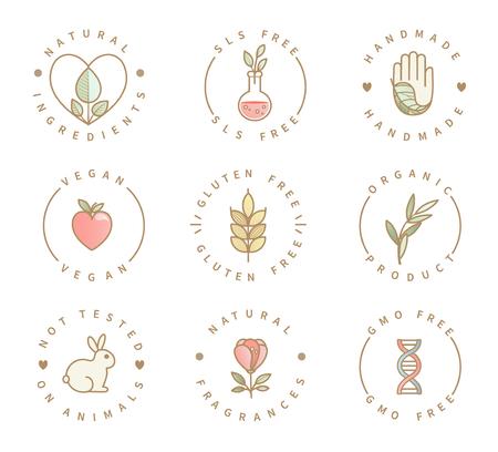 Conjunto de logotipos de productos ecológicos, iconos de alimentos y bebidas saludables orgánicos naturales, etiquetas para el menú del restaurante, envases, embalajes. Estilo de vida saludable. Hecho a mano, sin gluten, sls ni transgénicos, no probado en animales.