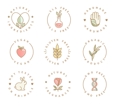 Set of eco product logos, natural organic healthy food and drink icons,labels for restaurant menu, packaging,packing.Healthy lifestyle. Handmade, gluten, sls and gmo free, not tested on animals.Vector Illustration